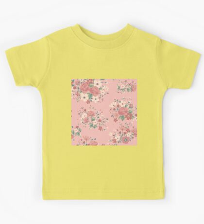 Shabby chic,rustic,vintage,retro,floral,pattern,roses,pink shades, green,white,red,modern,trendy,girly Kids Tee