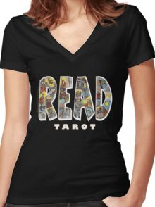 Be Well Read - READ TAROT (Black) Women's Fitted V-Neck T-Shirt
