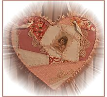 Embroidered Crazy Quilt Patchwork Heart  Photographic Print