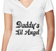 Daddys Lil Angel Women's Fitted V-Neck T-Shirt