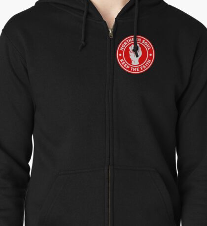 Northern Soul Keep the Faith RED Zipped Hoodie