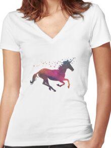 Cosmic Unicorn Women's Fitted V-Neck T-Shirt
