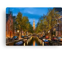 Canal in Amsterdam at Night Canvas Print