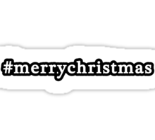 Merry Christmas - Hashtag - Black & White Sticker