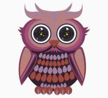 Star Eye Owl - Purple Orange Kids Clothes