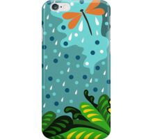 Dragonfly in the rain, hand draw, illustration, cute background, color doodle background. iPhone Case/Skin