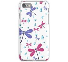 seamless pattern with dragonflies and rain drops iPhone Case/Skin
