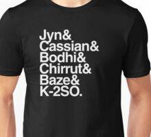 rogue one team helvetica list typography meme (black) Unisex T-Shirt