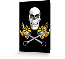 Flaming Mechanic Skull Greeting Card