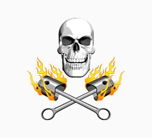 Flaming Mechanic Skull Unisex T-Shirt