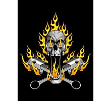 Flaming Mechanic Skull and Pistons Photographic Print
