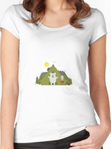Polar Bear Camping Women's Fitted Scoop T-Shirt