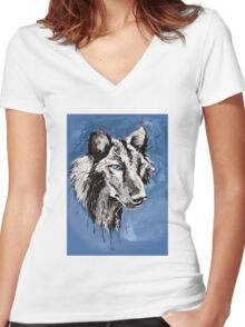Black Wolf - Animal Art by Valentina Miletic Women's Fitted V-Neck T-Shirt