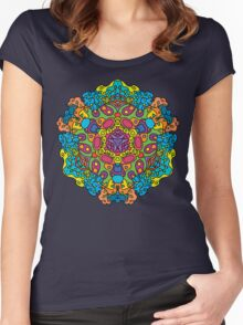 Psychedelic jungle kaleidoscope ornament 34 Women's Fitted Scoop T-Shirt