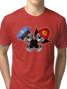 Police and Fire Skulls Tri-blend T-Shirt