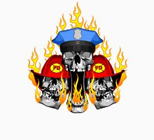 Flaming Police and Fire Skulls Unisex T-Shirt