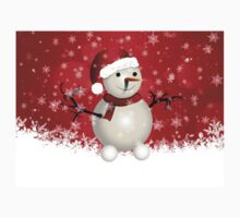 Cute snowman on red background Kids Clothes
