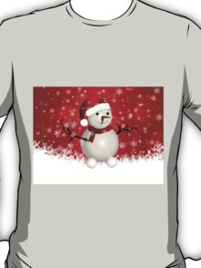 Cute snowman on red background T-Shirt
