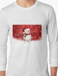 Cute snowman on red background Long Sleeve T-Shirt