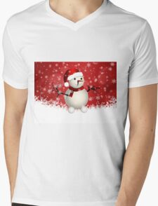 Cute snowman on red background Mens V-Neck T-Shirt
