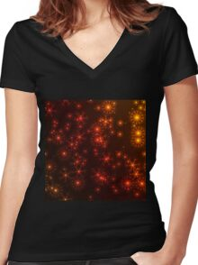 Colorful snowflakes Women's Fitted V-Neck T-Shirt
