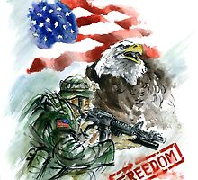 Native american art, american soldier picture for sale. by Mariusz Szmerdt