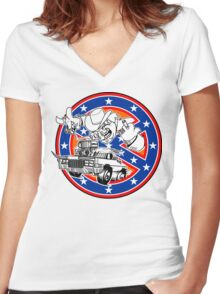 Ghostbusters of Hazzard - Franchise Logo Women's Fitted V-Neck T-Shirt