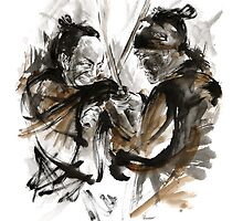 Japanese sword martial arts, two samurai art print by Mariusz Szmerdt