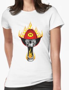Flaming Firefighter Skull Womens Fitted T-Shirt