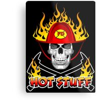 Flaming Fireman Skull Metal Print