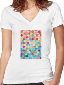 Patterned Honeycomb Patchwork in Jewel Colors Women's Fitted V-Neck T-Shirt