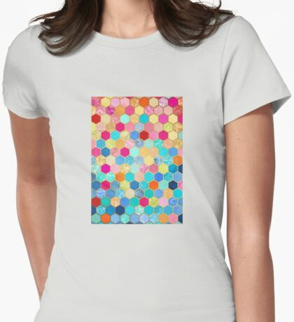 Patterned Honeycomb Patchwork in Jewel Colors Womens Fitted T-Shirt