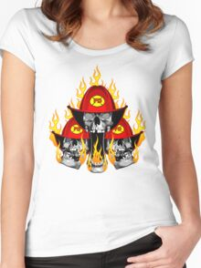 Flaming Firefighter Skulls Women's Fitted Scoop T-Shirt