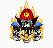 Flaming Fire and Police Skulls Unisex T-Shirt