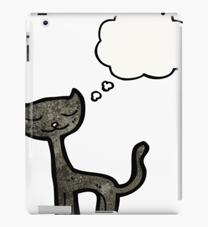 cartoon black cat with thought bubble iPad Case/Skin