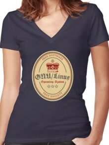 GNU Linux Operating System Free Software Free Society Women's Fitted V-Neck T-Shirt