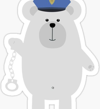 Polar bear with handcuffs Sticker