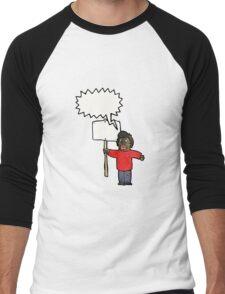 cartoon man with placard Men's Baseball ¾ T-Shirt