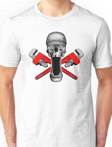 Plumber Skull and Pipe Wrenches Unisex T-Shirt