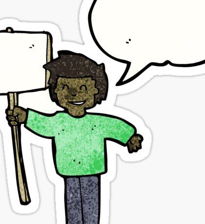 cartoon man with placard Sticker