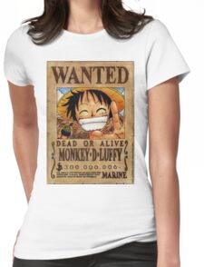 Luffy Wanted Shirt Womens Fitted T-Shirt