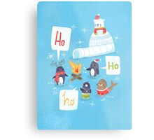 Penguins & Igloos Holiday Card Metal Print