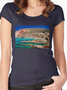 Fyriplaka beach, Milos island Women's Fitted Scoop T-Shirt