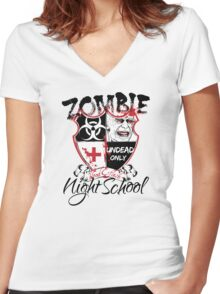 Zombie Night School Women's Fitted V-Neck T-Shirt