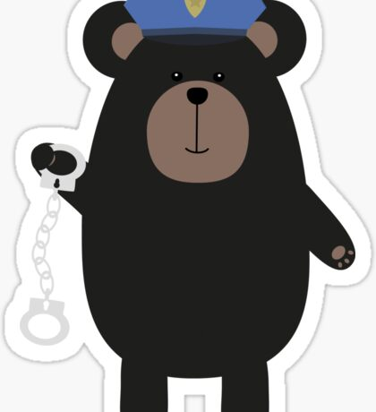 Police Black Bear and handcuffs Sticker