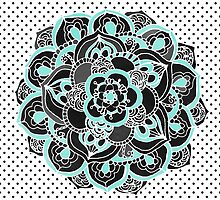 Mint & Charcoal Mandala Flower on Black Polka Dots by Tangerine-Tane