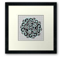 Mint & Charcoal Mandala Flower on Black Polka Dots Framed Print