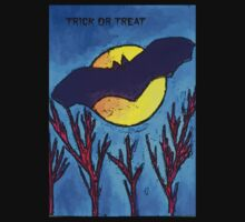 Halloween bat and moon trick or treat by JoAnnFineArt