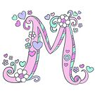 Letter M decorative graphic doodle art by Sarah Trett