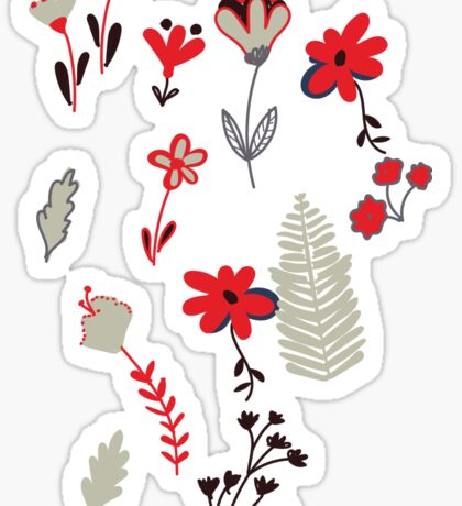 Red Vintage Floral Pattern Sticker